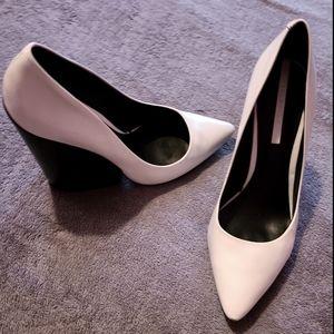 Zara White Wedge/Chunky Heel